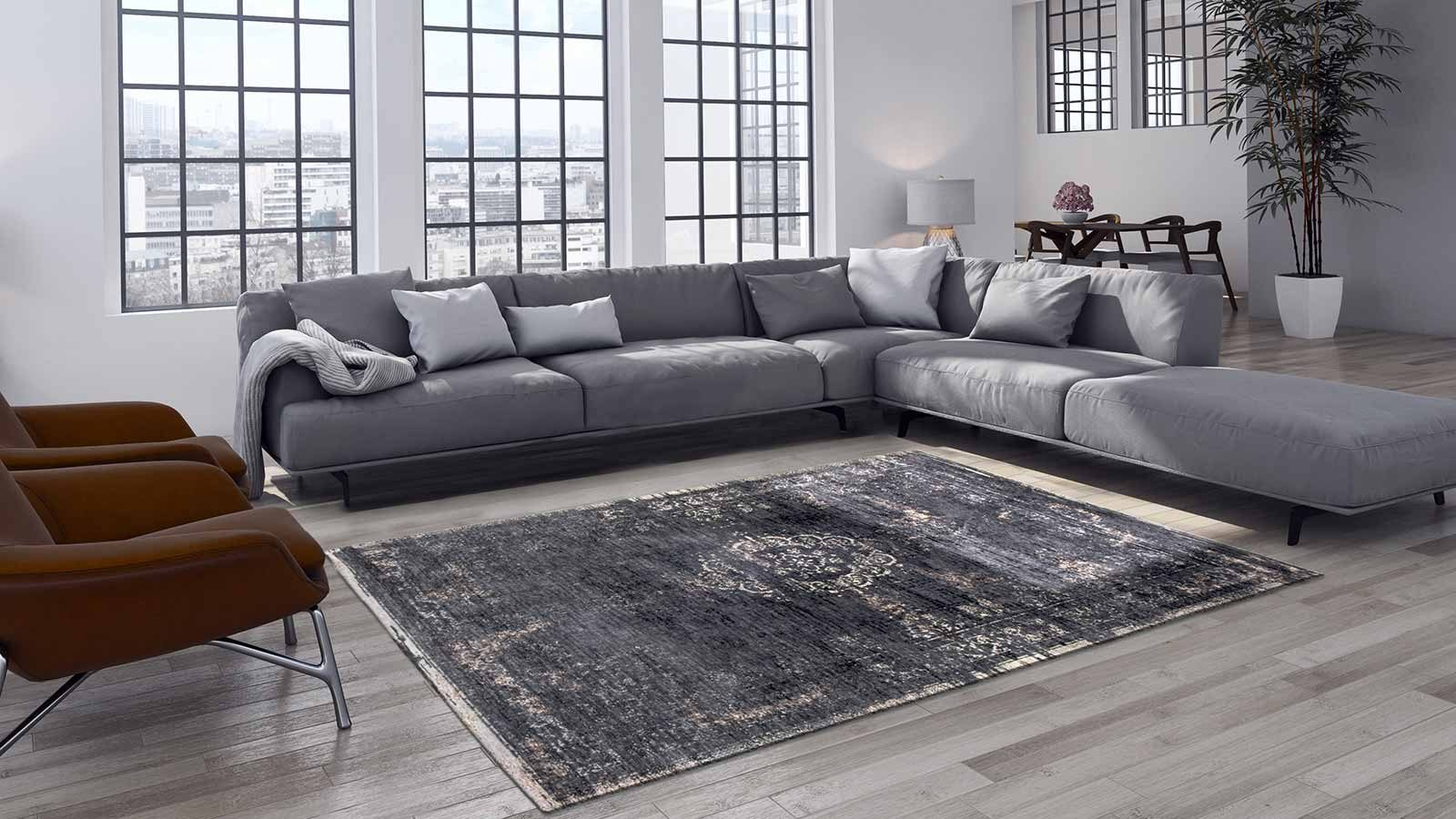 tapis Louis De Poortere LX8263 Fading World Medaillon Mineral Black interior 2