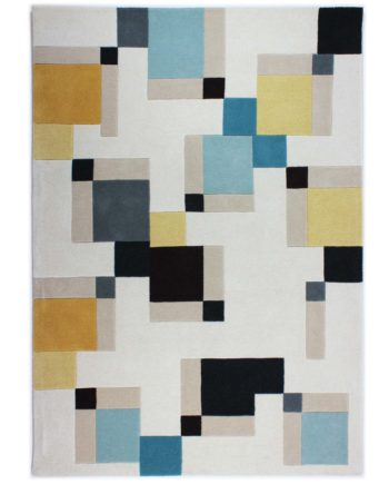 Andessi Tapis Cubox Blue Ochre 1