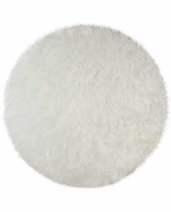 Andessi Tapis Faux Fur Sheepskin Circle Ivory 1